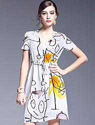 AFOLD® Damen V-Ausschnitt Kurze Ärmel Knielänge Kleid-5596