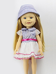 sharon conjuntos de 16 polegadas boneca roupas vestido de princesa chapéu de moda acessórios de vestuário de três bebê livre azul