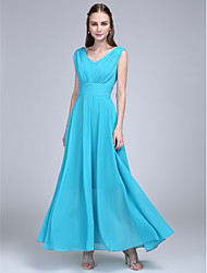 2017 Lanting Bride® Ankle-length Chiffon Bridesmaid Dress - A-line V-neck with Side Draping