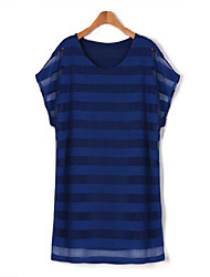 Women's Casual/Daily Simple Plus Size Dress,Striped Round Neck Mini Short Sleeve Blue / White / Beige / Black