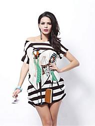 Na cor Feminino Decote Redondo Manga Curta Longuete Vestidos-1160277729