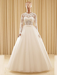 Ball Gown Wedding Dress Floor-length Jewel Lace / Tulle with Appliques / Sash / Ribbon