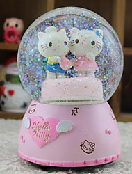 Angel Love Hello Kitty Rotating Snowflakes Music Box