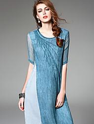 Ewheat® Femme Col Arrondi Manches 1/2 Mollet Robes-H2317