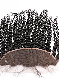 Unprocessed 8-20 Inch Virgin Brazilian Hair Closure Kinky Curly 13*4 Free Part Human Hair Lace Frontal with Baby Hair