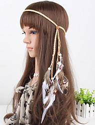 Women's Simple Feather Wooden Beads Headbands 1 Piece Khaki
