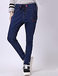 Women's Solid Blue Jeans Pants,Plus Size