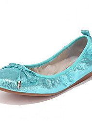 Women's Shoes  Spring / Fall Ballerina / Round Toe Flats Casual Flat Heel Bowknot Blue / Silver / Gold