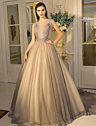 Formal Evening Dress - Color Block Ball Gown Jewel Court Train Lace Tulle with Crystal Detailing Draping Lace Side Draping