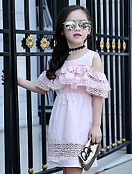 Girl's Cotton Summer Fashion Lace Leakage Shoulder Princess Dress
