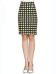 Women's Print White / Yellow Skirts,Street chic Knee-length