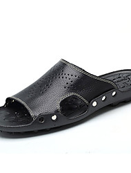 Men's Shoes Cowhide Casual Clogs & Mules Casual Walking Flat Heel Others Black / Blue / Brown / White