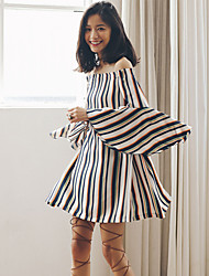 SINCE THEN  Women's Sexy / Chinoiserie Striped Shift Dress,Boat Neck Above Knee Polyester