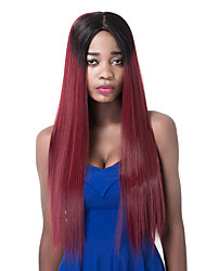 European long Sythetic Black Mix Wine Red Straight Party Wig For Women