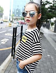 Girl's Casual/Daily Striped Blouse,Cotton Summer Black / Blue