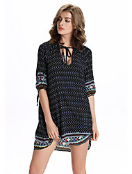 Women's Casual/Daily Sophisticated A Line Dress,Print Round Neck Mini ½ Length Sleeve Black Linen Summer