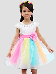 Mädchen Kleid-Lässig/Alltäglich Patchwork Baumwolle / Polyester Ganzjährig Weiß