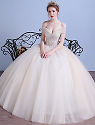 Ball Gown Wedding Dress Vintage Inspired Floor-length Off-the-shoulder Tulle with Crystal