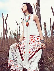 Aporia.As® Women's Round Neck Sleeveless Tea-length Dress-MZ01200