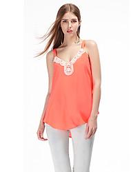 Herz Soul® Damen Gurt Ärmellos T-Shirt Blau / Weiß / Orange-11AA27112