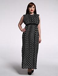 Women's Beach / Plus Size Boho Swing Dress,Polka Dot Round Neck Maxi Sleeveless Black Polyester Summer