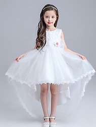 A-line Asymmetrical Flower Girl Dress - Lace / Organza Sleeveless Jewel with Bow(s) / Flower(s)