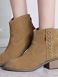 Boots Winter Combat Boots Cowhide Casual Chunky Heel Zipper / Tassel Khaki / Camel