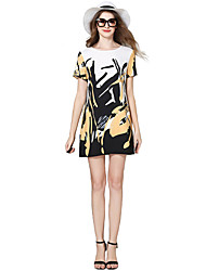 Women's Casual/Daily Simple Loose / Chiffon Dress,Print Round Neck Above Knee Short Sleeve White Cotton