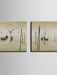 E-HOME® Wooden Boat On Water Clock in Canvas 2pcs