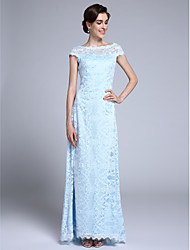 Lanting Bride® Sheath / Column Mother of the Bride Dress Floor-length Short Sleeve Lace with Lace