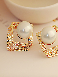 Earring Square Stud Earrings Jewelry Women Fashion Party / Daily / Casual Alloy / Rhinestone 1 pair Silver