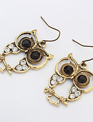Exquisite Engraving Owl Diamond Earrings Pierced Earrings