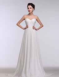 Formal Evening Dress A-line Sweetheart Sweep / Brush Train Chiffon with Side Draping