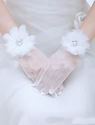 Wrist Length Fingertips Glove Polyester Bridal Gloves Spring Summer Fall Winter Floral