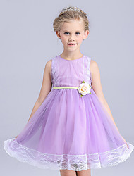 A-line Knee-length Flower Girl Dress - Cotton / Lace / Tulle Sleeveless Jewel with Flower