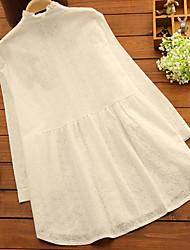 Ample Robe Maternité Décontracté / Quotidien Chic de Rue,Couleur Pleine Collerette Au dessus du genou Manches Longues Blanc Polyester