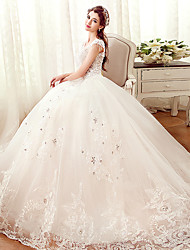 A-line Wedding Dress Floor-length Off-the-shoulder Tulle with Appliques / Beading / Crystal / Pearl / Ruffle / Sequin