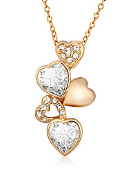Women's Pendant Necklaces AAA Cubic Zirconia Zircon Cubic Zirconia Gold Plated Heart Fashion Gold/White Jewelry Wedding Party Daily Casual