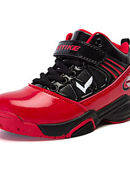 Boy's Sneakers Spring Fall Tulle PU Casual Flat Heel Others Hook & Loop Black Black and Red Basketball
