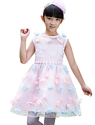A-line Knee-length Flower Girl Dress - Organza Sleeveless Jewel with Appliques