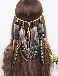 Women's Vintage Peacock Feather Beads Pendant Weave Headbands 1 Piece