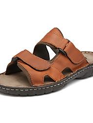 Men's Shoes Nappa Leather Outdoor/Casual Slippers & Flip-Flops Outdoor/ Casual Flat Heel Hook & Loop Black/Brown