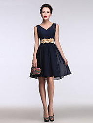 A-Line V-neck Short / Mini Chiffon Cocktail Party Homecoming Dress with Flower(s)