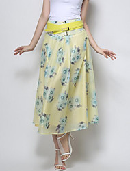 Women's Solid White / Yellow Skirts,Sophisticated Midi