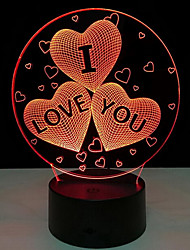 Creative I LOVE YOU 3D LED Colorful Night Light Touch Switch