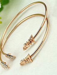 Golden Heart with Crystal CUff Bangle Bracelet Jewelry Set (6*7cm)