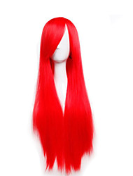Cheap Price high temperature Red Color Synthetic cosplay wig 80cm Young Long straight wigs