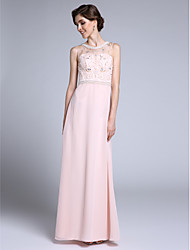 LAN TING BRIDE Sheath / Column Mother of the Bride Dress - Elegant Floor-length Sleeveless Chiffon with Crystal Detailing