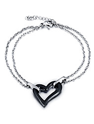 Women Fashion Lovely Heart-shaped Bracelet Chain Stainless Steel Ceramic Chain