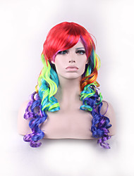 Rainbow Cheap Sex Products Synthetic Wig Lolita Anime Wig Cosplay Hair Wigs Long Curly Perruque Peruca